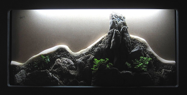 chinese landscape shadowbox with plants and waterfall