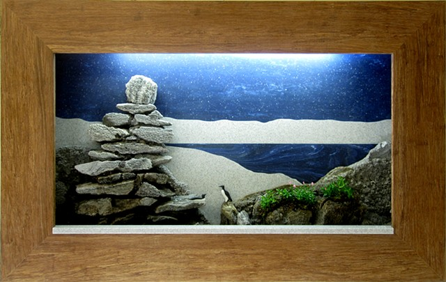 lighted shadowbox feather rock fountain with plants and miniature birds
