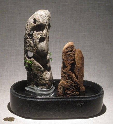 scholar's rock on daiza with driftwood