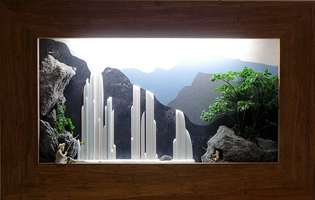 Chinese landscape shadowbox wall fountain with plants and waterfall