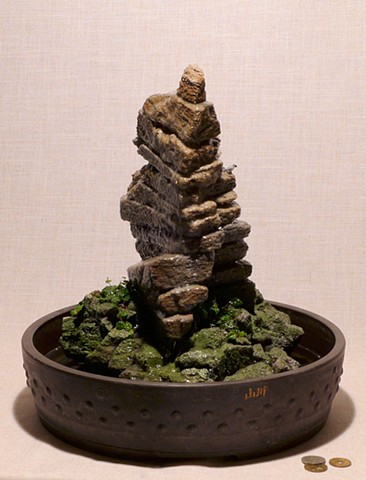 tabletop feather rock fountain with creeping fig