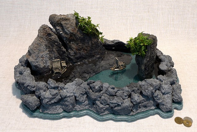 Corian and feather rock fountain with mudmen miniatures