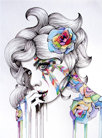 watercolor painting drawing candy art woman
