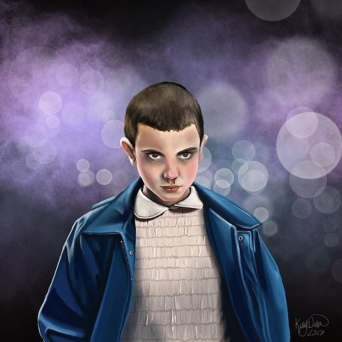 Digital painting of the character, Eleven, from Stranger Things.