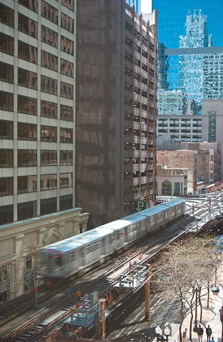 View from the El platform in Chicago's Loop by Lucy Mueller Photography