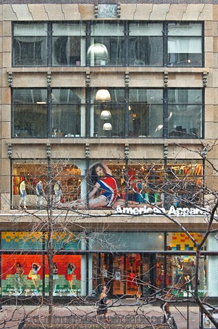 American Apparel store in downtown Chicago as seen from Blick Art Supplies second floor by lucy mueller photography