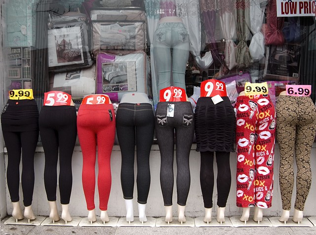 Mannequin lower bodies with rounded big booties in tight leggings on Milwaukee Avenue by lucy mueller