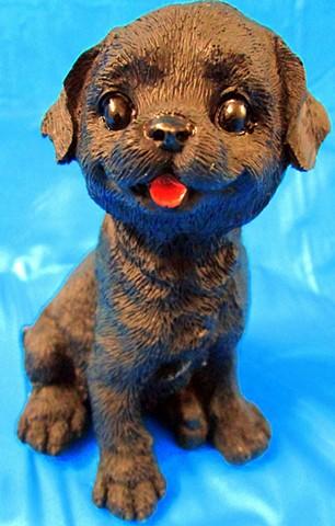 Luv Bunnies (Black Dog on Blue)