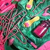 """""""Still Life with Pink Plastic Hangers (You make everything GROOVY.)"""