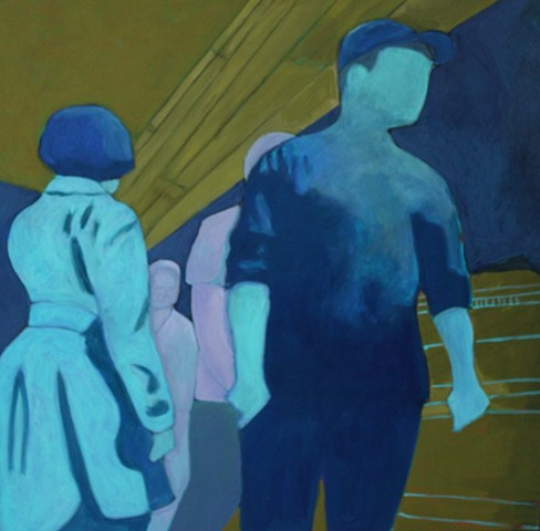 abstracted figurative new york subway acrylic painting