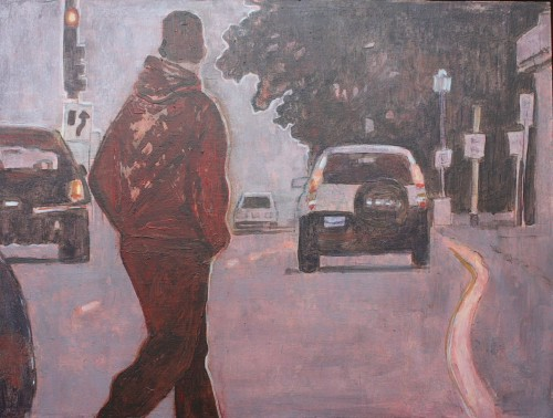figure crossing street acrylic painting