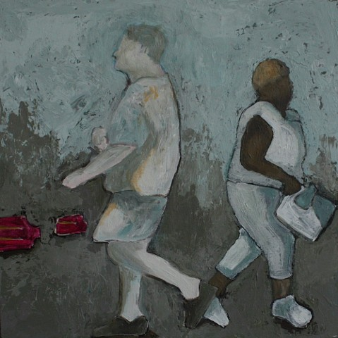 two figures passing acrylic painting