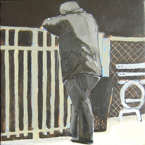 man in New York park leaning on fence acrylic painting
