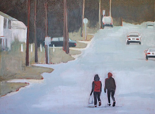 two figures walking down street acylic painting