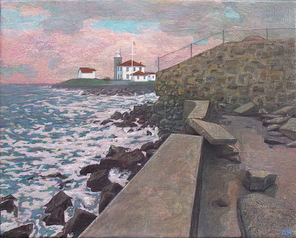 painting of Watch Hill Rhode Island lighthouse paint by Art Ballelli art