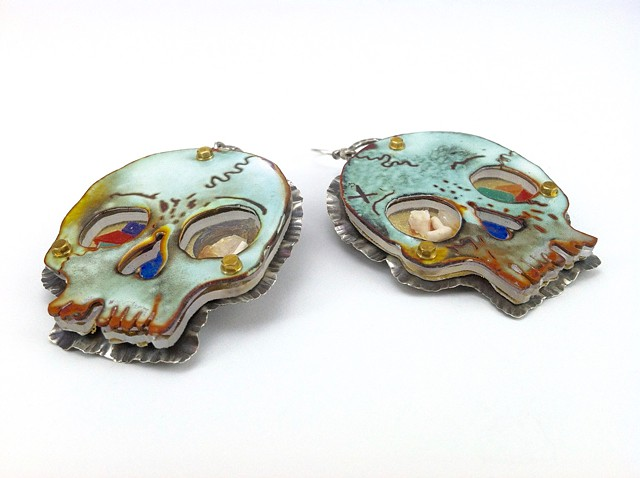 Skull Earrings (side view)