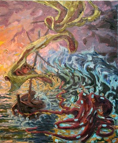 John Burkett Painting Demosthenes Dinghy