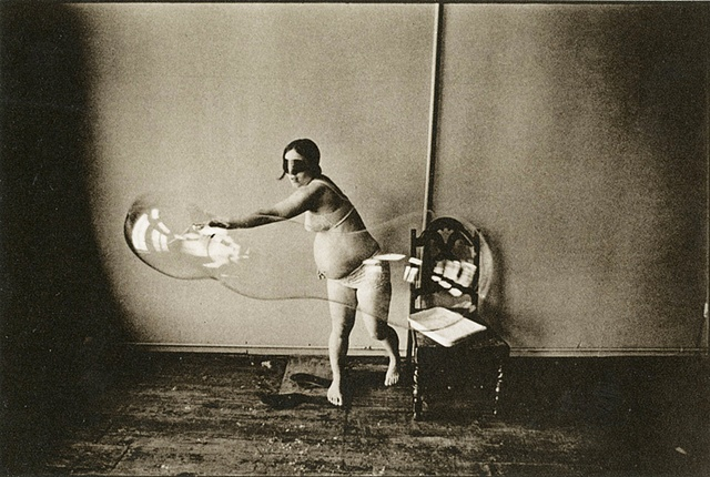 "From the portfolio: ""Eight Photographs / Leslie Krims"" Pregnant woman and bubble"