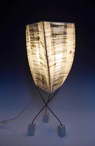 ceramic feet painted steel structure paper shade browns natural tones warm light