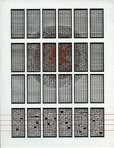 obsessive, drawing, grid