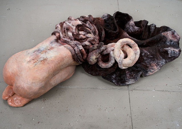 figurative life-size sculpture that is surreal and abject