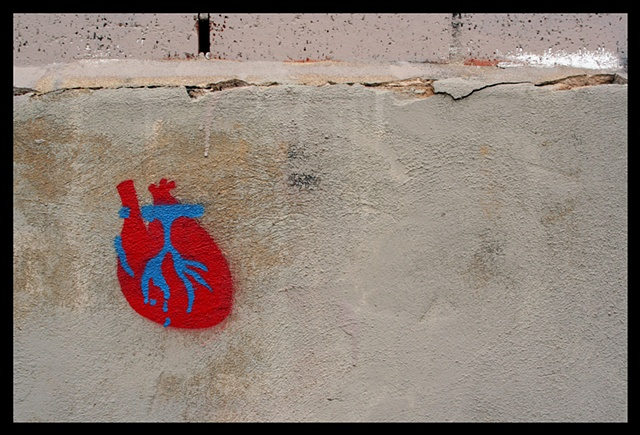 heart on a wall