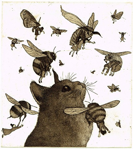 Snatchers Etching aquatint cat bees moths