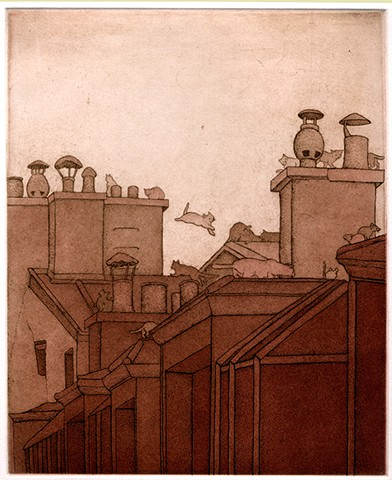 Paris cat etching aquatint