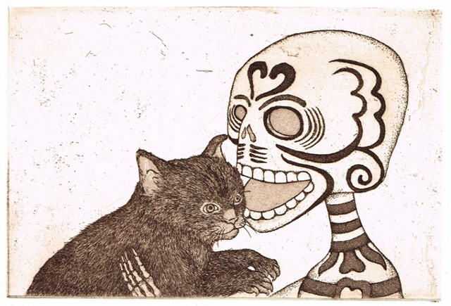 Etching and aquatint, animal, cat