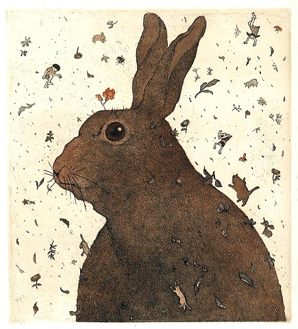 Rabbit storm etching aquatint