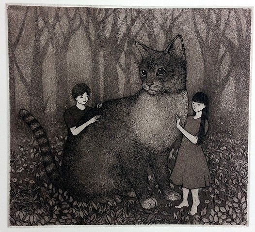 cat etching and aquatint