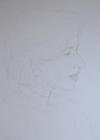 Mature Woman No. 6, portrait, woman, pencil, drawing, david murphy, cypher, the panic artist