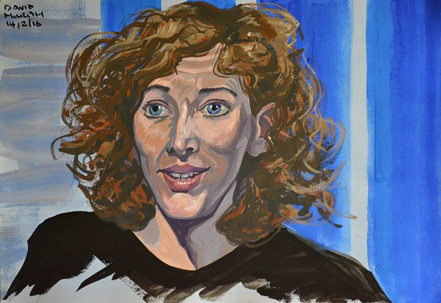 Curly Haired Woman No. 1, portrait, gouache and watercolour, david murphy