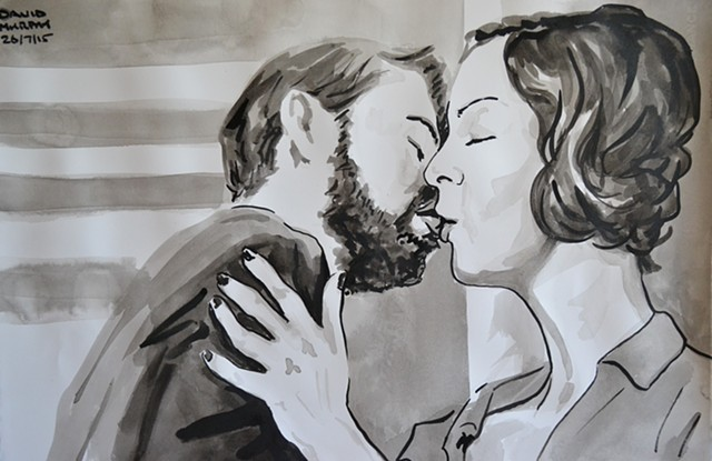 Couple Kissing, brush and Indian ink, david murphy