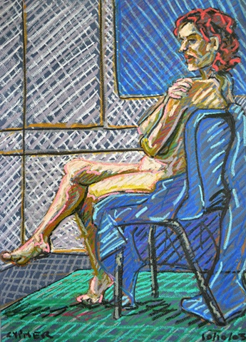 N.C.A.D. Seated Female Nude From The Side, david murphy, cypher, the panic artist, david brendan murphy