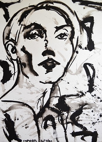Splash Portrait, 2001, brush and indian ink, portrait, david murphy