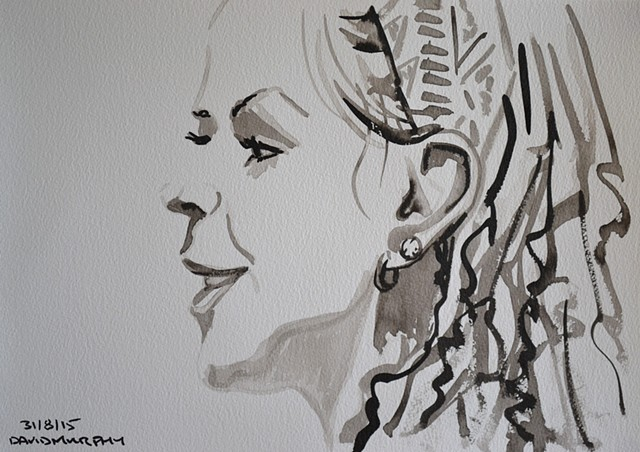 Girl in Profile, David Murphy, brush and indian ink, portrait