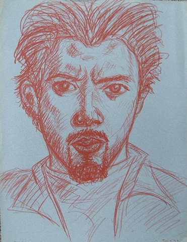 Self-Portrait in Red Pencil