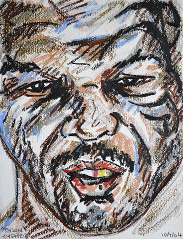 Tyson Portrait No. 1, david murphy, oil pastel, sketch, drawing,