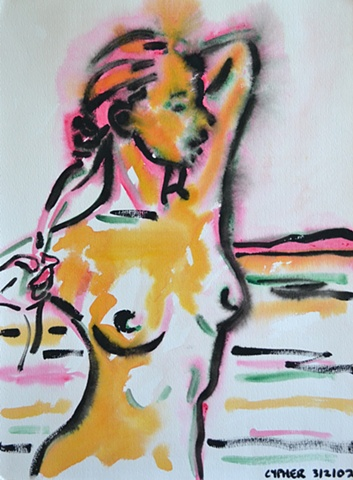 Naked Girl on Beach, reasonable priced art, value art, David Murphy, Cypher, The Panic Artist