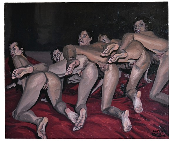 Five Women Baring Their Bottoms, david murphy, cypher, oil on Wood, new, realist