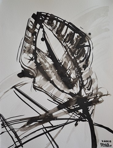Fleur du Mal No. 1, David Murphy, brush and indian ink, abstract,