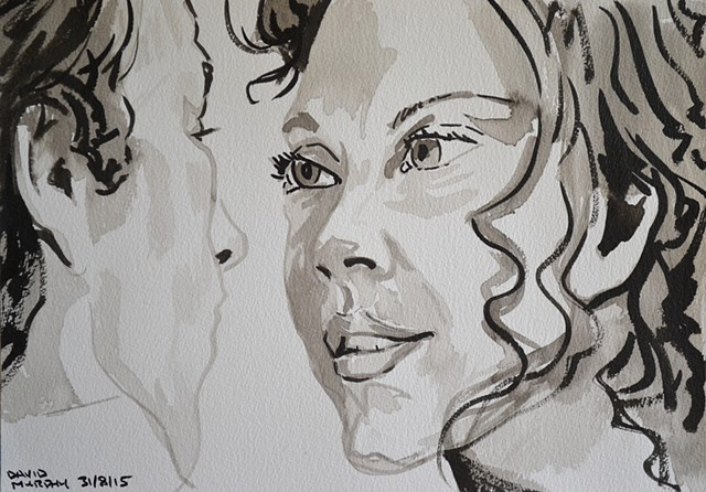 The Look of Love, David Murphy, brush and indian ink, portrait