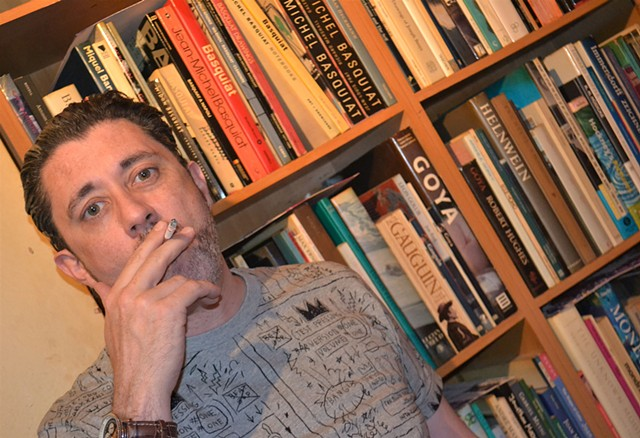 David Beside His Bookcase, cypher, irish, dublin, painter, artist, writer, ireland