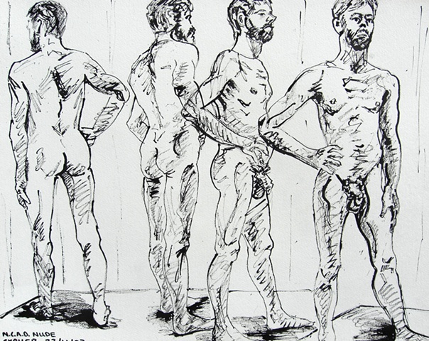 N.C.A.D. Standing Male Nude Four Views
