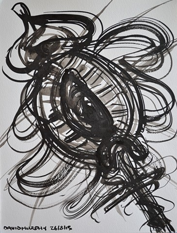 Fleur du Mal No. 3, David Murphy, brush and indian ink, abstract,
