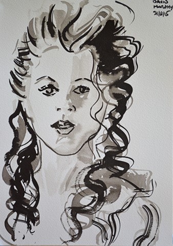 Muse No. 1, David Murphy, brush and Indian ink, portrait