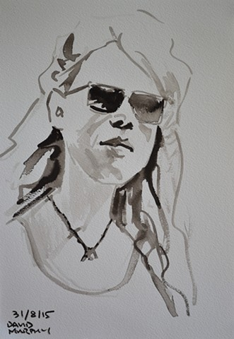 Girl with Sunglasses, David Murphy, brush and indian ink, portrait