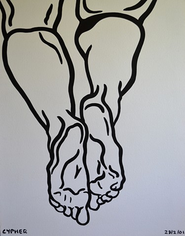 Drawing of Feet, 2001, david brendan murphy, cypher, the panic artist
