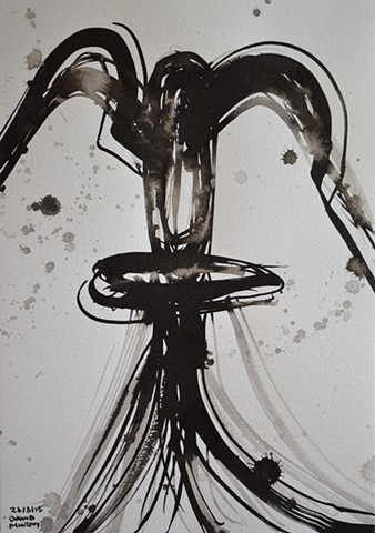 Female Totem No. 1, David Murphy, brush and indian ink, abstract,